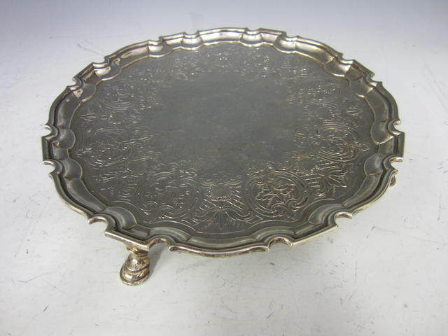 A George II silver salver London 1731, makers mark poorly struck,