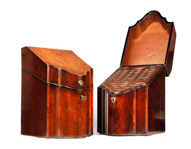 Two similar George III mahogany and inlaid cutlery boxes