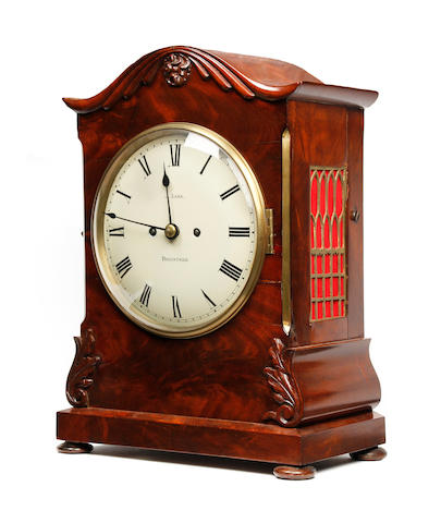 A William IV/Early Victorian mahogany-cased twin fusee bracket clock J Lake, Braintree