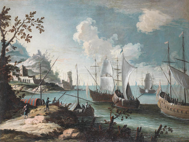 Attributed to Alessandro Grevenbroeck (active Italy, 1717-1787) A Mediterranean coastal landscape