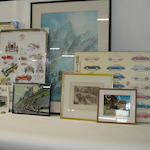 Assorted motoring prints,