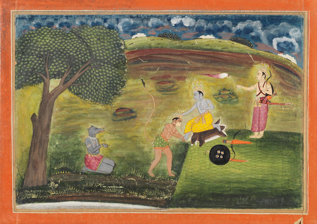 A scene from the Ramayana:... Jaipur, circa 1800