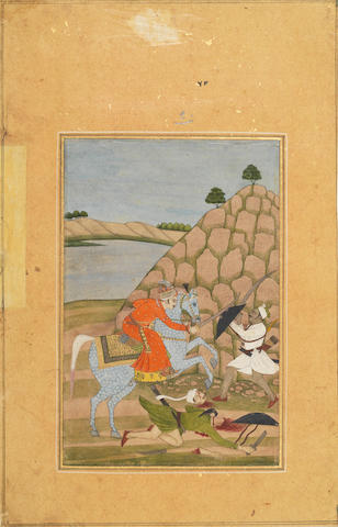Nat Ragini: a horseman attacked by two soldiers Provincial Mughal, probably Deccan, circa 1770