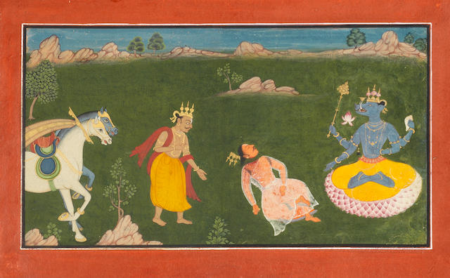 Varaha avatar: the boar incarnation of Vishnu seated in a landscape, a beheaded devotee before him as another approaches with horses to the left Pahari, late 18th Century