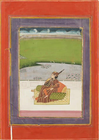 A female musician seated on a terrace Provincial Mughal, Jaipur? late 18th Century
