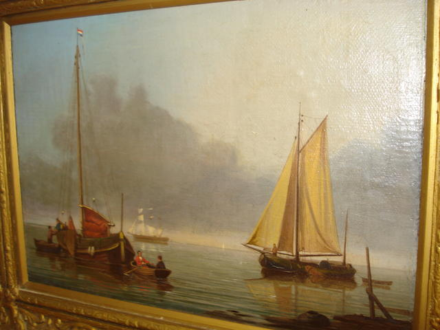 Follower of  William Anderson Fishing Vessels on a Calm Evening