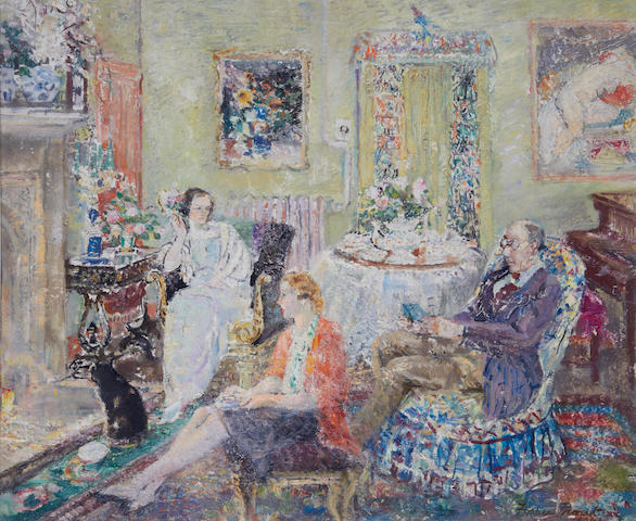 Margaret Fisher Prout (British, 1875-1963) Family in the drawing room