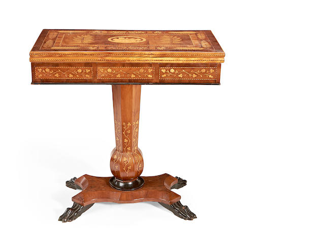 A mid 19th century Killarney yew and arbutus marquetry games table