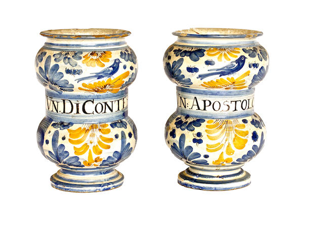 A pair of North Italian earthenware drug jars, 18th century