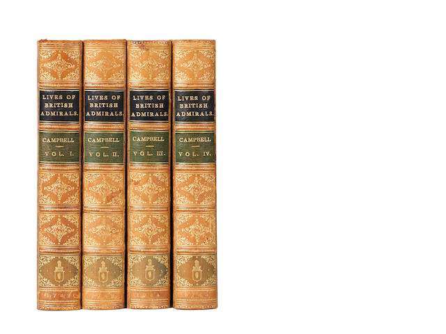 CAMPBELL (JOHN) Lives of the Admirals, and Other Eminent British Seamen, 4 vol., FIRST EDITION