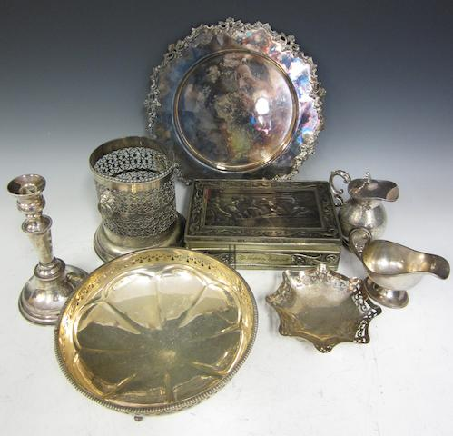 An electroplate three piece tea service,   (Qty to three boxes)