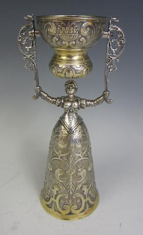 A German electroplated and gilt-plated Wager cup by Wurttembergische Metallwaren Fabrik, circa 1910, stamped zg, beehive, 1/0