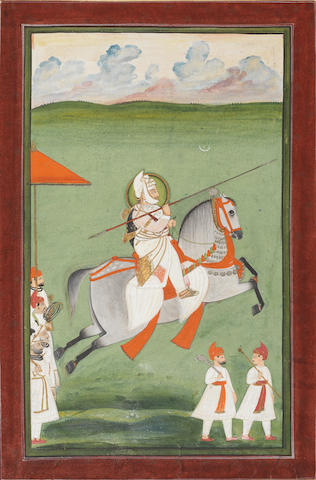 Maharana Jawan Singh of Udaipur (reg. 1828-1838) out hunting on horseback brandishing a lance, attendants running alongside Mewar, circa 1830