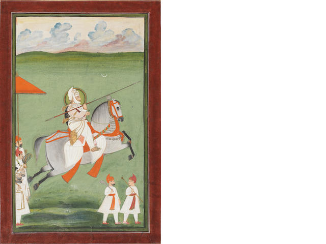 A Maharana on horseback armed with a lance, attendants alongside Mewar, circa 1830