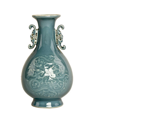 A Chinese monochrome glazed vase, bearing Qianlong mark but later