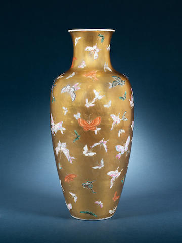 A famille rose and gilt 'butterflies' baluster vase 19th century