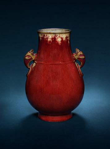 A sang-de-boeuf-glazed oviform vase, hu Impressed Qianlong seal mark and of the period
