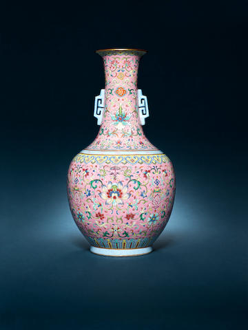A rare famille rose pink-ground vase Jiaqing seal mark and of the period