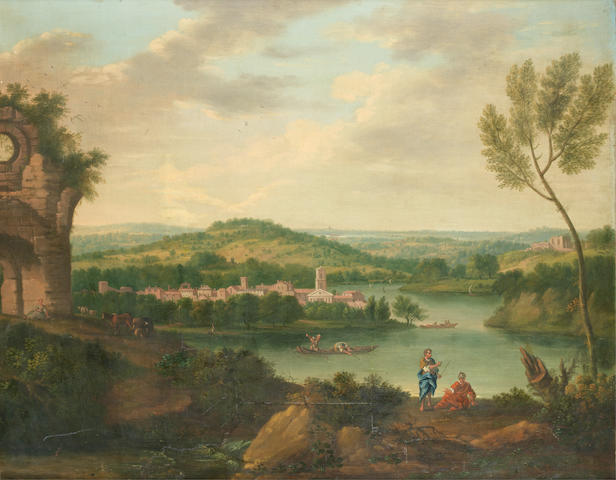 English School, 18th Century A capriccio landscape of a lakeside town with ruins and figures in the foreground