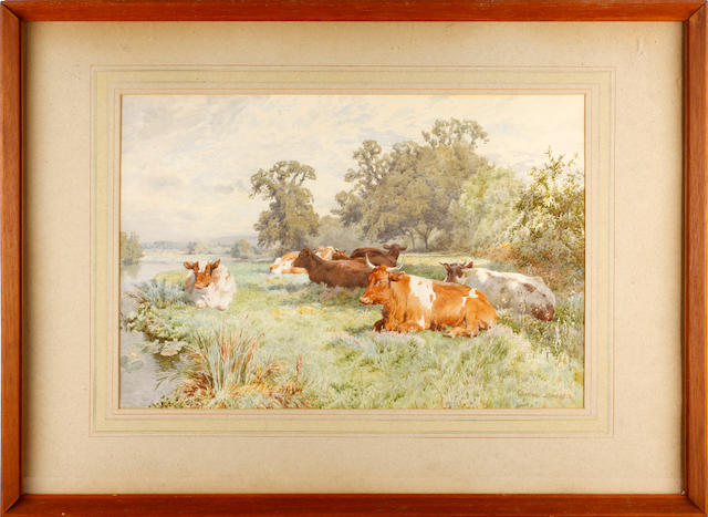 Charles Collins, RBA (British, 1851-1921) Cattle in a riverside meadow