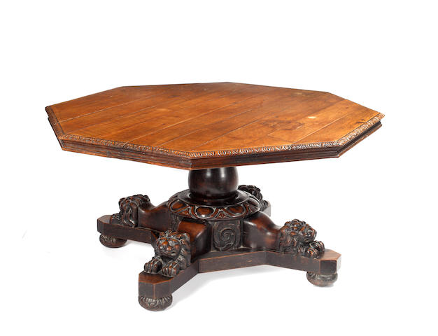 A late 19th Century oak octagonal centre table