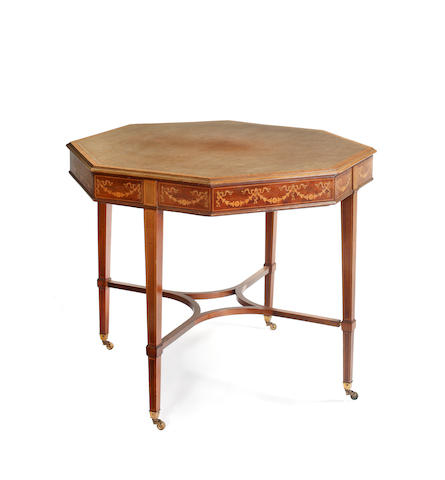 An Edwardian mahogany and satinwood crossbanded octagonal centre table
