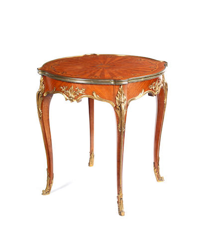 A Louis XV style kingwood and ormolu mounted centre table