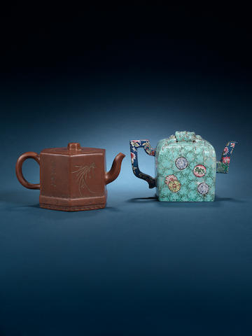 Two Yixing teapots and covers 18th century, seal mark Yang Baonian (on the unglazed teapot)