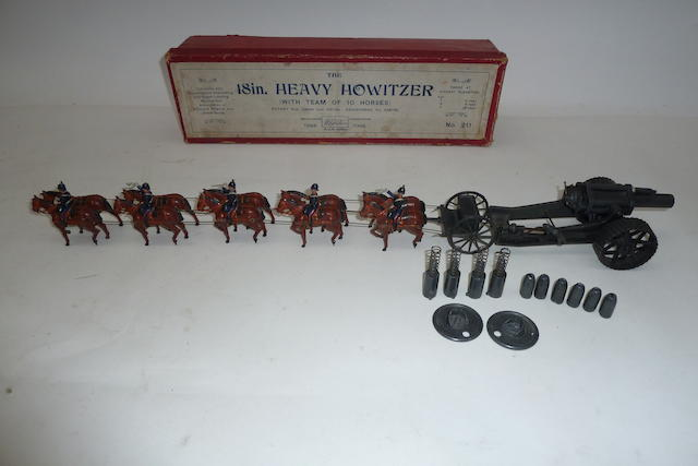 "Britains set 211, 18"" Heavy Howitzer and Team 12"