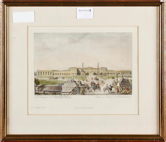After Carl Schütz Entrée au Chateau de Schoenbrunn & Vie de la Capitale de Vienne Two engravings with hand-colouring, on wove, each 170 x 260mm (6 3/4 x 10 1/4in)