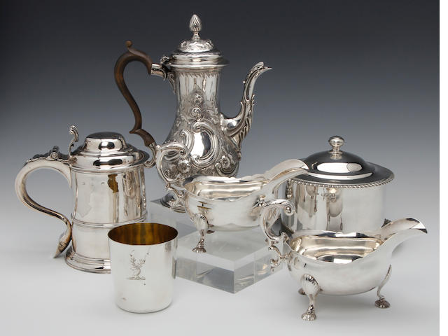 A George II silver lidded tankard by Humphrey Payne, London 1732