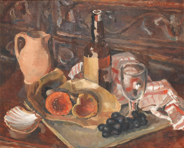 Maud Frances Eyston Sumner (South African, 1902-1985) Still life with wine bottle