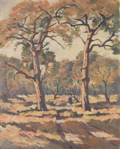 Walter Whall Battiss (South African, 1906-1982) Figure amongst trees