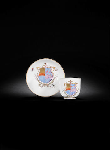 A Meissen armorial cup and saucer with the arms of Da Pontte and another circa 1745