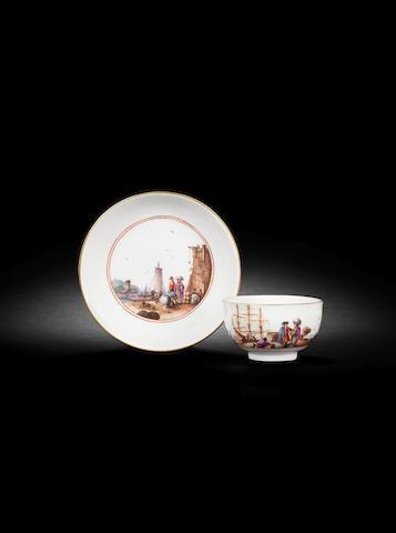 A Meissen teabowl and saucer circa 1735
