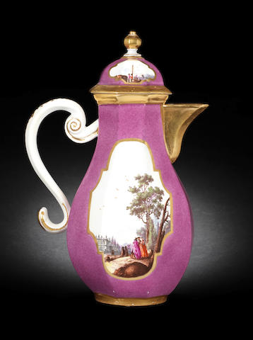 An octagonal purple-ground coffee pot and cover circa 1735