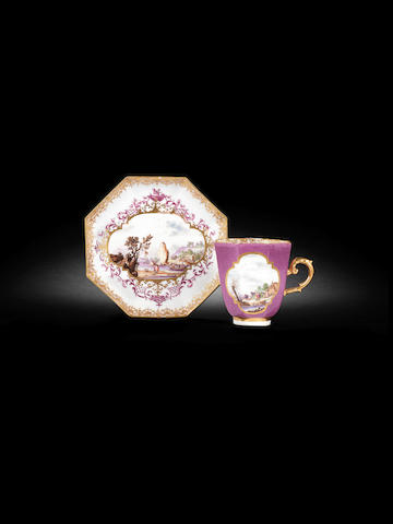 A Meissen octagonal purple-ground cup and saucer circa 1735