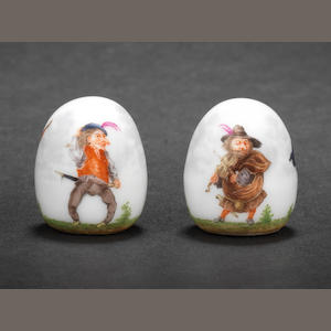 A Meissen knob decorated with Callot Dwarves  19th century