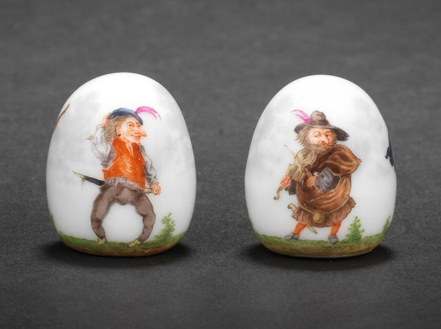 Two Meissen knobs, 19th century