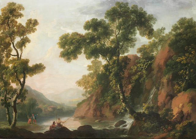 George Barrett  R.A. (Dublin circa 1728-1784 Paddington) Peasants fishing on the banks of a river, with a rocky landscape beyond
