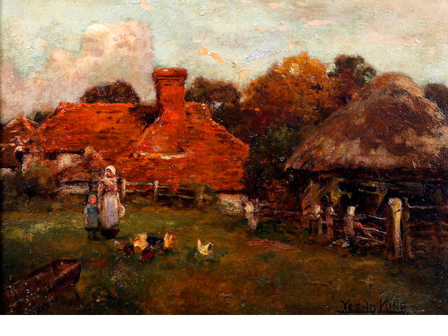 Henry John Yeend King (British, 1855-1924) Mother and child feeding chickens by farm buildings