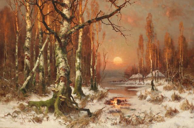 Yuli Yulievich  Klever (Russian, 1850-1924) Woodland sunset