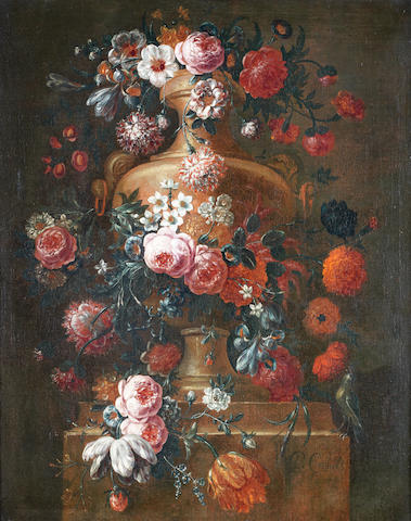 Pieter Frans Casteels (active Antwerp, circa 1690-1697) Roses, tulips, convulvus, narcissi and other flowers in an urn, on a stone ledge
