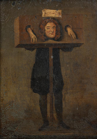 English Naïve School, 19th Century Titus Oates in the stocks for perjury