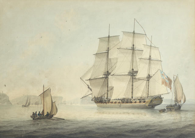 Samuel Atkins (British, fl.1787-1808) A sloop off the French coast ????
