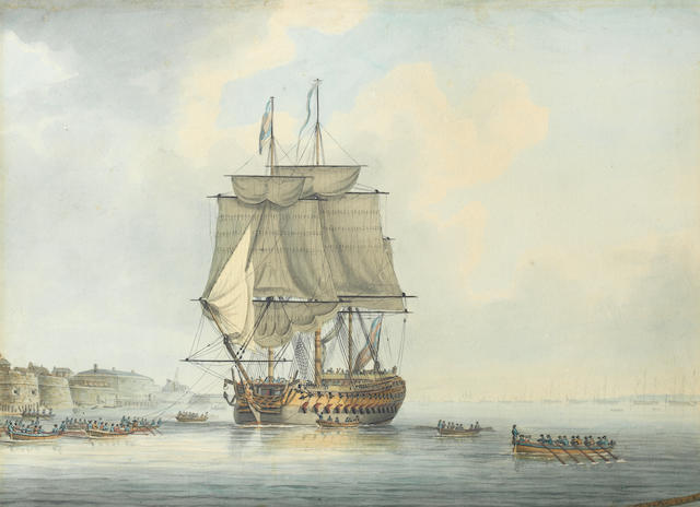 Thomas Yates (British, died 1796) A line of battle ship towing into Portsmouth harbour and distant view of Spithead ???