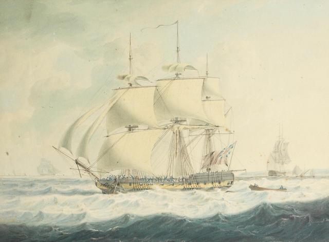John Thomas Serres (British, 1759-1825) H.M.S. Thisbe off Dover ???