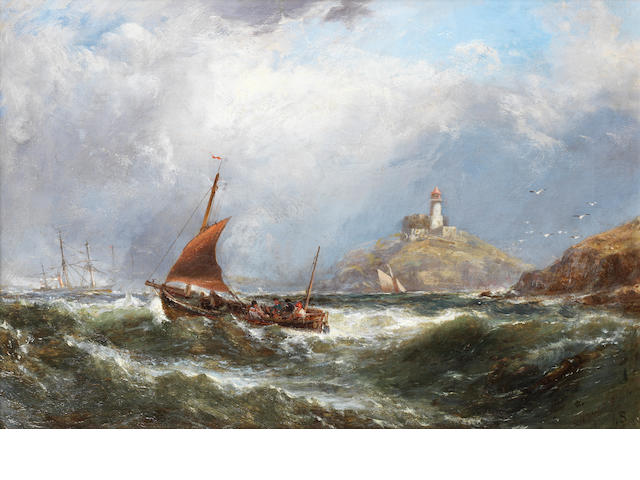 Edwin Hayes, RHA, RI, ROI (British, 1819-1904) 'Oyster boats off Mumbles Light House' (sic)