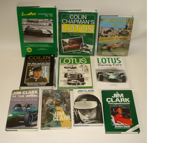 Ten books relating to Lotus motor racing,