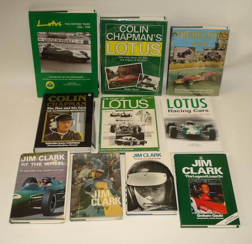 Ten books relating to Lotus motor racing,